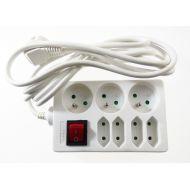Przedłużacz elektryczny listwa 7 gniazd 3m biały