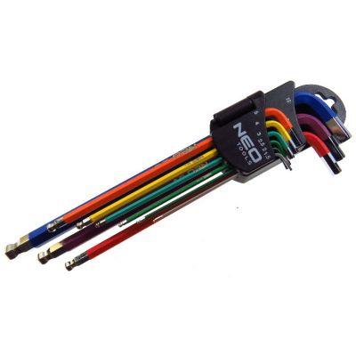 Klucze imbusowe z kulką 9szt. 1,5-10mm kolorowe
